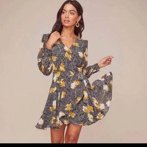 ASTR The Label Aja Long Sleeve Wrap Mini Dress M